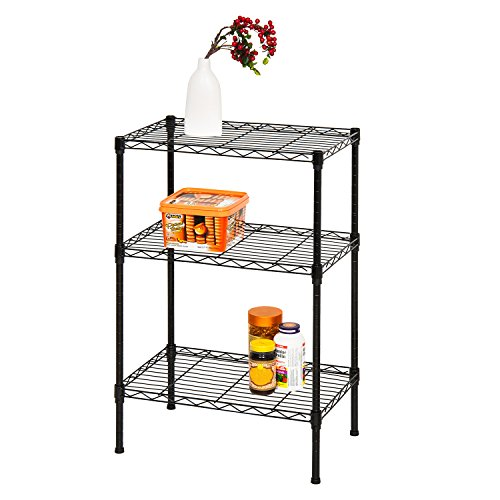 Finnhomy-Supreme-Steel-Wire-Shelving-Unit-with-Stable-Leveling-Feet-3-Shelves-Wire-Rack-Shelving-Thicken-Steel-Tube-Black-0-0