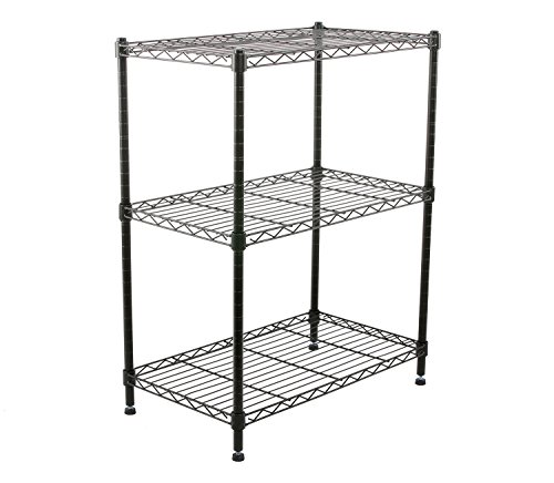 Finnhomy-Supreme-Steel-Wire-Shelving-Unit-with-Stable-Leveling-Feet-3-Shelves-Wire-Rack-Shelving-Thicken-Steel-Tube-Black-0