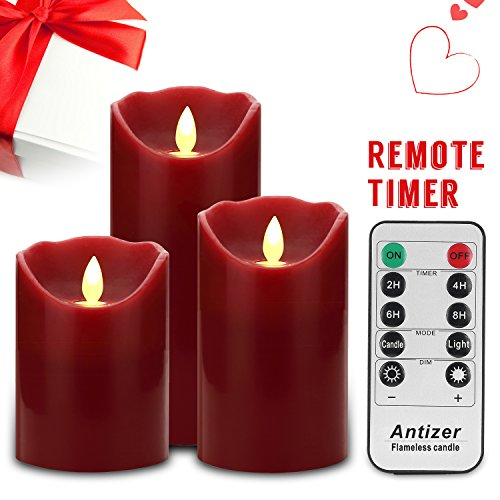 Flameless-Candles-4-5-6-Set-of-3-Burgundy-Color-Real-Wax-Pillars-Include-Realistic-Dancing-LED-Flames-and-10-key-Remote-Control-with-24-hour-Timer-Function-Antizer-0-1