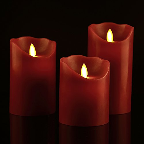 Flameless-Candles-4-5-6-Set-of-3-Burgundy-Color-Real-Wax-Pillars-Include-Realistic-Dancing-LED-Flames-and-10-key-Remote-Control-with-24-hour-Timer-Function-Antizer-0