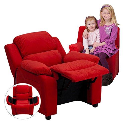 Flash-Furniture-Deluxe-Heavily-Padded-Contemporary-Avocado-Microfiber-Kids-Recliner-with-Storage-Arms-0
