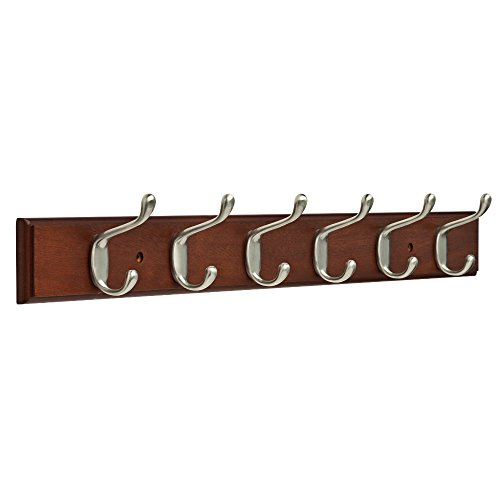 Franklin-Brass-FBHDCH6-WSE-R-27-Hook-Rail-Rack-with-6-Heavy-Duty-Coat-and-Hat-Hooks-in-White-Satin-Nickel-0