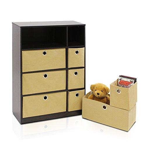 Furinno-Econ-13089EXLB-Storage-Organizer-Cabinet-with-Bins-EspressoLight-Brown-0-1