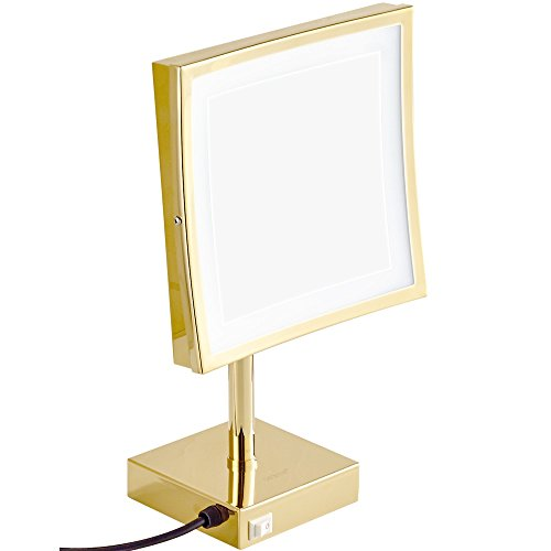 GURUN-85-inch-Magnifying-Lighted-Mirror-with-LED-Light-3x-Magnification-Gold-Finish-M2205Dtabletop-Gold-0-0