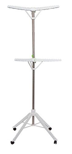 Garment-Drying-Rack-2-Tier-6-Arms-Holds-Up-To-60-Garments-Foldable-Space-Saving-Design-Stainless-Steel-4-Base-Legs-with-Wheels-0