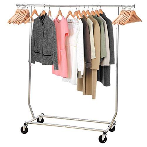 Garment-Rack-MaidMAX-Adjustable-Single-Rod-Wardrobe-Rack-with-Wheels-for-Christmas-Gift-0-0