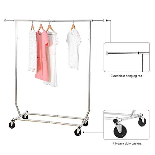 Garment-Rack-MaidMAX-Adjustable-Single-Rod-Wardrobe-Rack-with-Wheels-for-Christmas-Gift-0-1