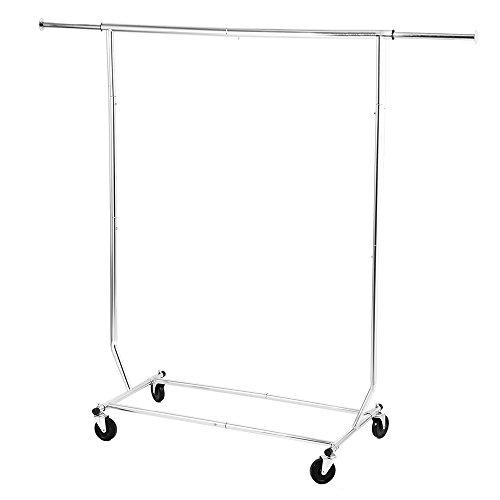 Garment-Rack-MaidMAX-Adjustable-Single-Rod-Wardrobe-Rack-with-Wheels-for-Christmas-Gift-0