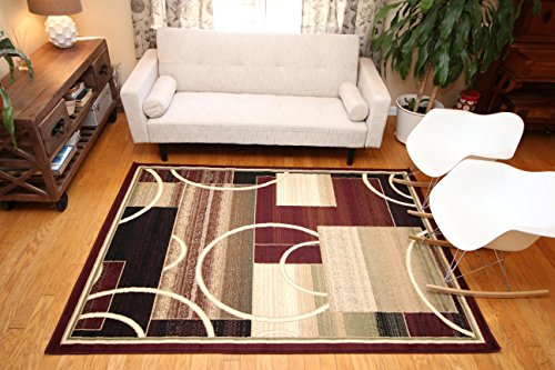 Generations-Brand-New-Contemporary-Reds-Burgundy-Modern-Square-and-Circles-Area-Rug-0-0