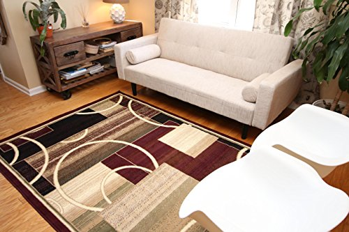 Generations-Brand-New-Contemporary-Reds-Burgundy-Modern-Square-and-Circles-Area-Rug-0-1