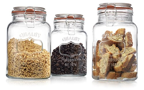 Glass-Canister-Quality-Set-of-3-Clear-Round-Jar-with-Hermetic-Seal-Bail-Trigger-Airtight-Lock-for-Kitchen-Food-Storage-Containers-0