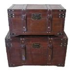 Gold-Rush-Steamer-Trunk-Wood-Storage-Wooden-Treasure-Chest-0-0