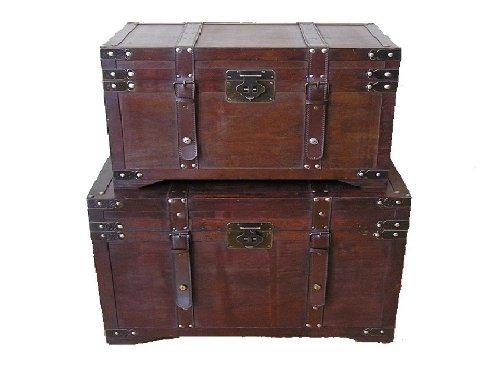 Gold-Rush-Steamer-Trunk-Wood-Storage-Wooden-Treasure-Chest-0-0