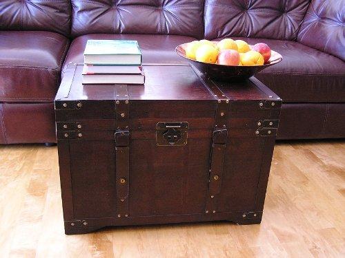 Gold-Rush-Steamer-Trunk-Wood-Storage-Wooden-Treasure-Chest-0