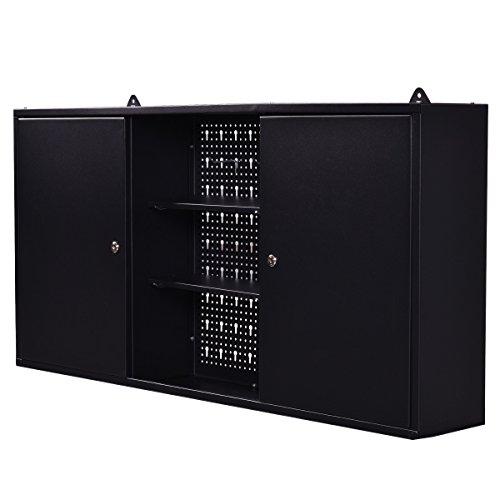 Goplus-Wall-Mount-Hanging-Tool-Box-Storage-Cabinet-Lock-Home-Office-Garage-Black-New-0