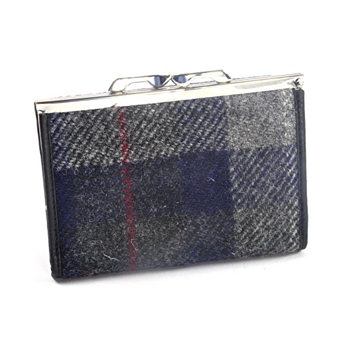 Grey-Blue-Red-Stripe-Harris-Tweed-Check-Medium-Clip-top-Purse-with-Side-Wallet-by-Cloudberry-0-1