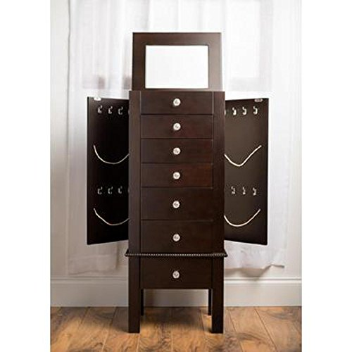 HIVES-HONEY-Crystal-Jewelry-Armoire-with-Mirror-Espresso-0-0
