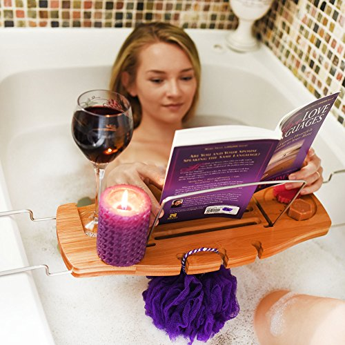 Handcrafted-Bamboo-Bathtub-Caddy-with-Large-Non-Slip-Extending-Sides-Mold-Resistant-Protection-For-The-Ultimate-Bath-Tub-Tray-0-1