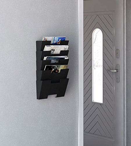 Hanging-Wall-File-Folder-Steel-Magazine-Newspaper-Rack-Holder-Cascading-Wall-Organizer-5-Pack-Black-0-0