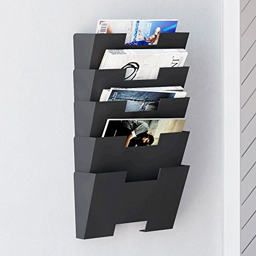Hanging-Wall-File-Folder-Steel-Magazine-Newspaper-Rack-Holder-Cascading-Wall-Organizer-5-Pack-Black-0