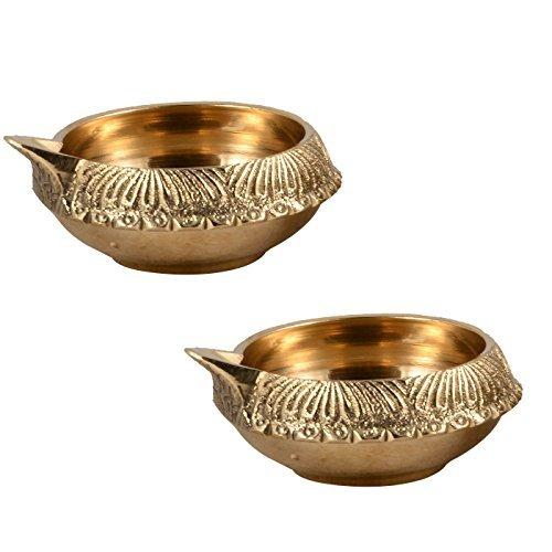 Hashcart-Handmade-Indian-Puja-Brass-Oil-Lamp-Golden-Diya-Lamp-Engraved-Design-Dia-25-Inch-0-0