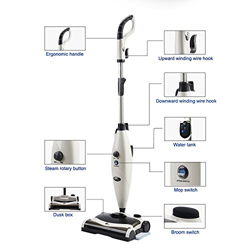 Hausbell-MW8100-All-in-One-Sweeper-and-Steam-Mop-for-Floor-and-Carpet-Pet-Hair-Eraser-with-2-Mop-Pads-0-1