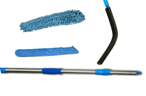 High-and-low-Wet-or-Dry-2-Microfiber-Machine-Washable-Dusters-Cleaners-a-Flexible-Bendable-and-Extendable-Wand-and-a-Telescoping-23in-4ft-Sturdy-Lightweight-Threaded-Extension-Pole-The-length-of-the-p-0