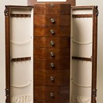 Hives-and-Honey-Large-Floor-Standing-8-Drawer-Wooden-Jewelry-Armoire-with-Mirror-Lock-Walnut-Finish-0-0