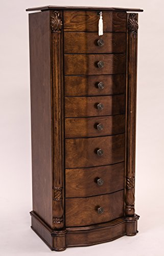 Hives-and-Honey-Large-Floor-Standing-8-Drawer-Wooden-Jewelry-Armoire-with-Mirror-Lock-Walnut-Finish-0