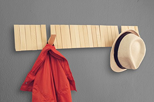Home-Moda-Piano-Wall-Mounted-CoatRack-with-Space-Saving-29-Hooks-for-Coats-BagsShirts-Purses-HatsAccessories-and-More-Pine-Wood-0