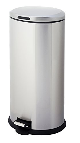 HomeZone-VA40914A-30-Liter-Stainless-Steel-Oval-Step-Trash-Can-0