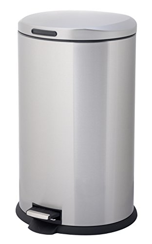 HomeZone-VA40916A-40-Liter-Stainless-Steel-Oval-Step-Trash-Can-0