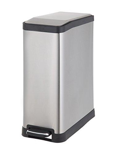 HomeZone-VA41311A-45-Liter-Stainless-Steel-Rectangular-Step-Trash-Can-0