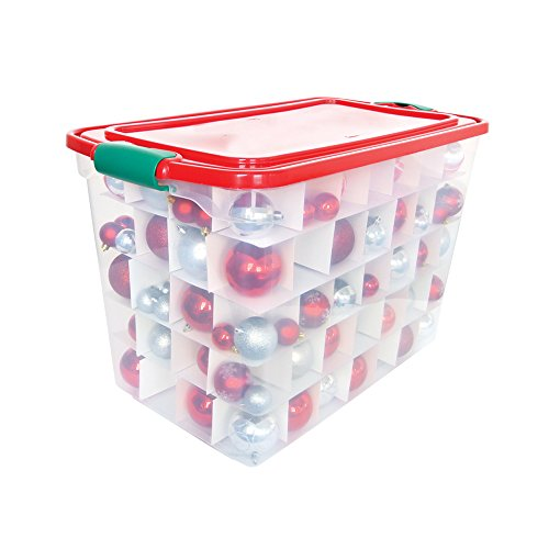 Homz-Holiday-Ornament-Storage-Tote-Box-Latching-Handles-64-Quart-Clear-With-Red-Lid-Stackable-6-Pack-0-0