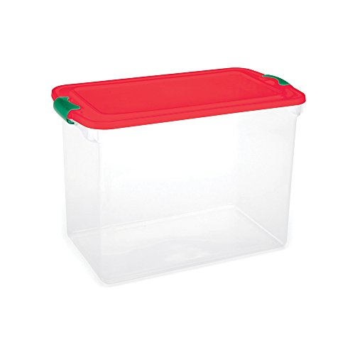 Homz-Holiday-Ornament-Storage-Tote-Box-Latching-Handles-64-Quart-Clear-With-Red-Lid-Stackable-6-Pack-0