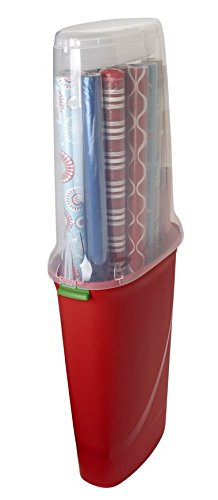 Homz-Rolled-Gift-Wrap-Storage-Totes-Up-to-40-Red-with-Clear-Lid-2-Pack-0-0