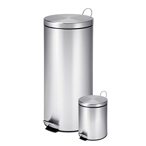 Honey-Can-Do-TRS-01886-30-Liter-and-3-Liter-Stainless-Steel-Garbage-Can-Combo-0