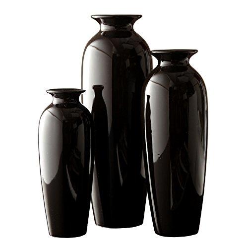 Hosley-Elegant-Expressions-Ceramic-Vases-in-Gift-Box-Black-Set-of-3-0