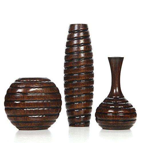 Hosleys-Set-of-3-Wood-Vases-0