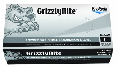 Hospeco-ProWorks-GrizzlyNite-GL-N105FL-Exam-Grade-Nitrile-Glove-Powder-Free-Disposable-95-Length-43-mils-Thick-Large-Pack-of-1000-0