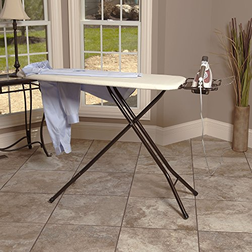 Household-Essentials-Extra-Wide-Top-4-Leg-Large-Ironing-Board-with-Natural-Cotton-Cover-and-Iron-Holder-Stand-Bronze-0-1