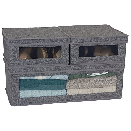 Household-Essentials-Three-Piece-Vision-Storage-Boxes-Natural-Canvas-with-Brown-Trim-0-0