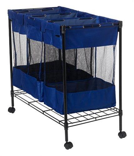Household-Essentials-Triple-Sorter-Storage-Bin-with-Wheels-Black-Steel-Frame-0-0