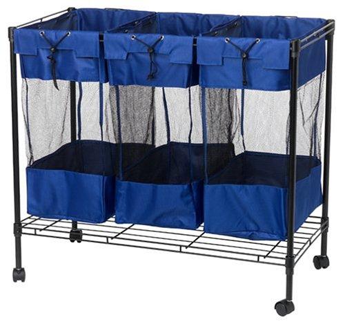 Household-Essentials-Triple-Sorter-Storage-Bin-with-Wheels-Black-Steel-Frame-0