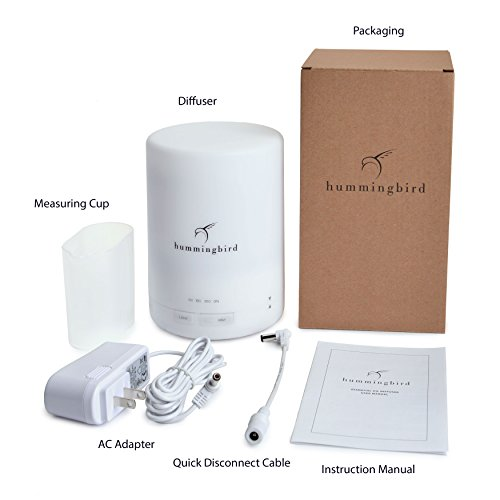 Hummingbird–300ml-Essential-Oil-Diffuser-8-Hours-Cold-Mist-7-Color-LED-4-Mode-Timer-FREE-Quick-Disconnect-Cable-Aromatherapy-Ultrasonic-Air-Humidifier-w-Auto-Shutoff-0-1