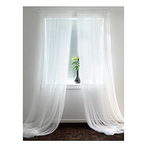 Ikea-Lill-Sheer-Curtains-2-Panels-98-X-110-White-New-0