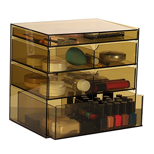 Ikee-Design-Acrylic-Cosmetics-Lipsticks-Makeup-Organizer-Holder-Box-with-4-Removable-Drawers-10W-x-7D-x-9-14H-MADE-IN-TAIWAN-0-0