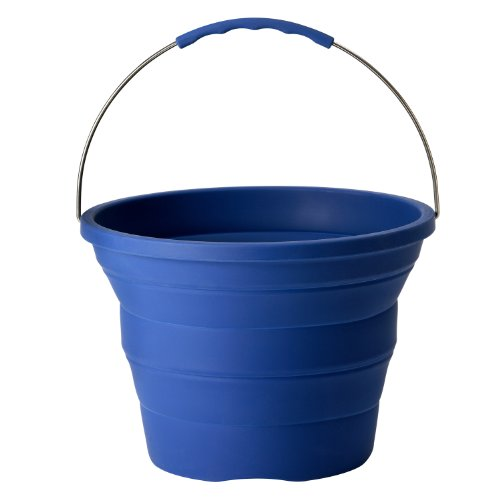 Infusion-Living-Collapsible-Bucket-Stainless-Steel-and-Silicone-2-Gallon-Capacity-0