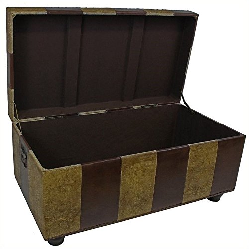 International-Caravan-Faux-Leather-Bench-Trunk-Color-Mixed-Pattern-0-0