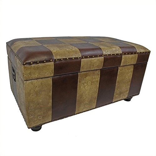 International-Caravan-Faux-Leather-Bench-Trunk-Color-Mixed-Pattern-0